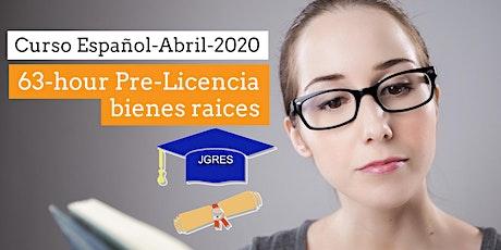 Abril-Curso Español-Agente Bienes Raíces 63-hour Pre-License Sales Associate  tickets