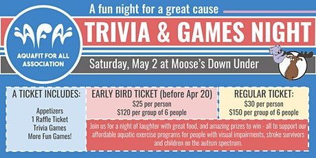Trivia & Games Night - Aquafit for All 2020 Fundraiser tickets