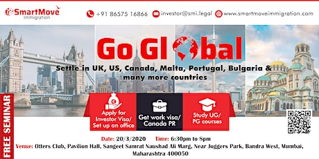 Go Global with SmartMove Immigration & settle in UK, USA,Canada and Europe. tickets