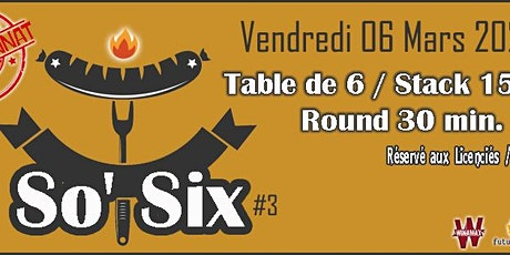 POITIERS POKER CLUB - Championnat SO SIX - Manche #3 billets