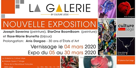 Vernissage Expo : J. Saverino, StarOne BoomBoom, R.-M. Brunetta, A. Dargaa billets