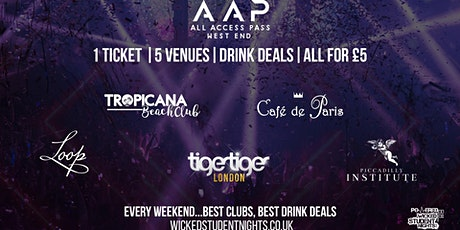AAP – ALL ACCESS PASS CLUB CRAWL | 5 VENUES 1 TICKET + Drink Deals tickets