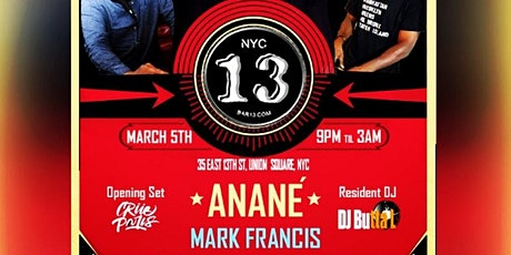 A Night of ANANÉ VEGA, MARK FRANCIS , CRUE PARIS  tickets
