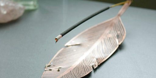 Copper Feather Incense Dish