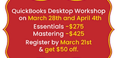 QuickBooks Desktop Hands-On Workshop Toronto | Mississauga - March 28th and April 4th 2020 tickets