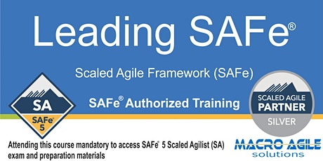 Leading SAFe®  5.0 (SA) (Scaled Agile Framework) Training- Online tickets