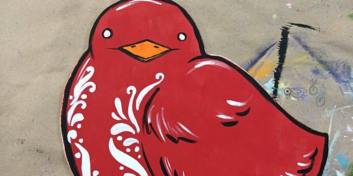 BYOB Red Bird Wood Cutout Decor at Flow