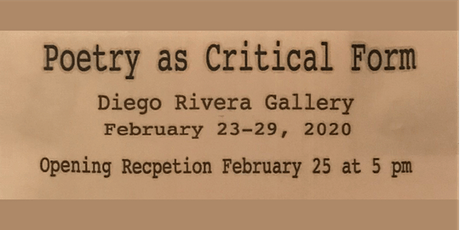 Poetry as Critical Form tickets