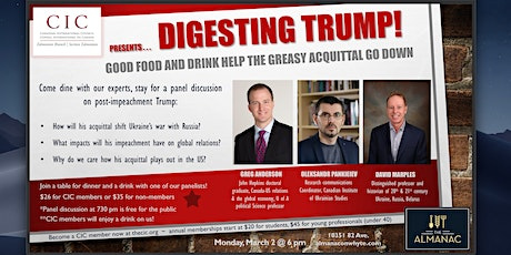 Digesting Trump: Good Food and Drink Help the Greasy Acquittal Go Down tickets