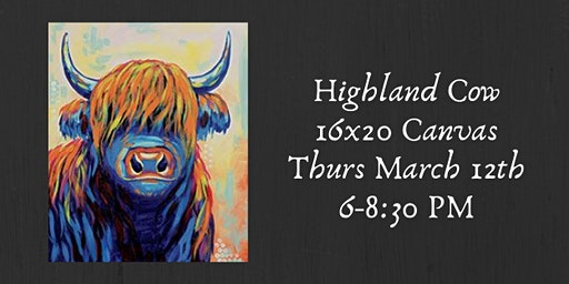 Highland Cow Canvas Paint Night