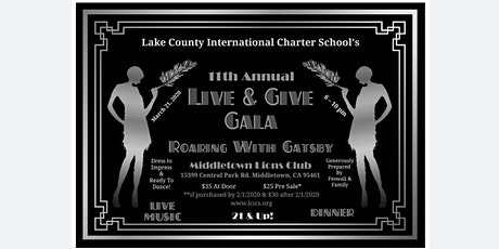 """Live & Give Gala """"Roaring with Gatsby"""" tickets"""