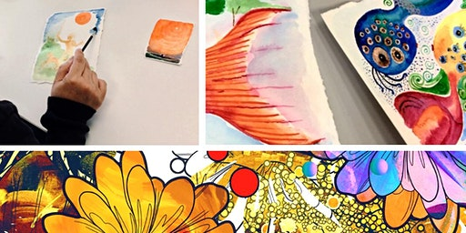 Mind wandering with water colours for kids