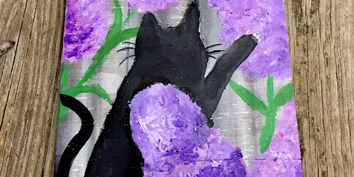 Cat in Lilacs Paint Event Fundraiser