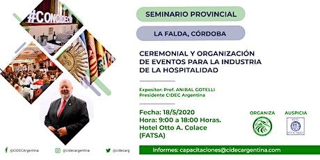 Seminario Provincial de Ceremonial y Organización de Eventos para la Hotelería y Turismo. tickets