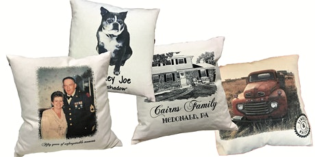 Design your own pillow workshop.  Just bring your photo. tickets