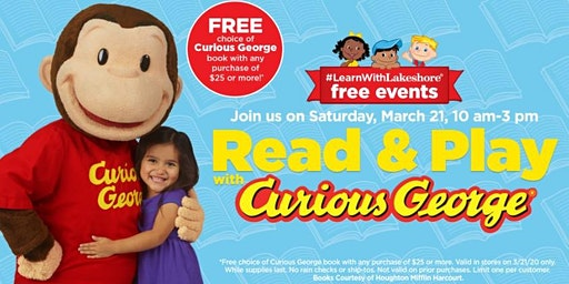 Lakeshore Special Event: Read & Play with Curious George (Saugus)
