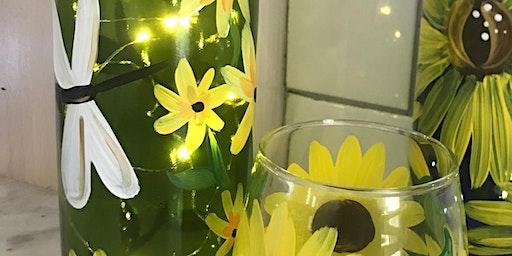 June 23rd Mocha Lisa's Caffe' Not Your Average Paint-N-Sip Dragon Fly Spring Lit Wine Bottle