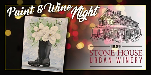 Paint Event at Stone House Urban Winery Rain Boot