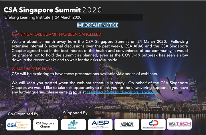 CSA Singapore Summit 2020  (cancelled due to COVID-19) image