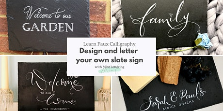 Learn faux modern calligraphy & design a slate sign with Mint Lettering tickets