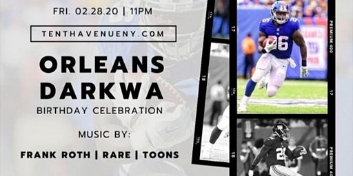 NY Giants Own Orleans Darkwa Birthday Bash At Tenth Avenue