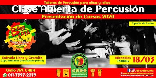 Clase Abierta y Gratuita de Percusión para Niños y Niñas - Presentación Cursos 2020