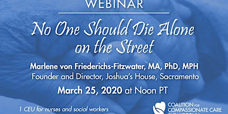 WEBINAR: No One Should Die Alone on the Street tickets