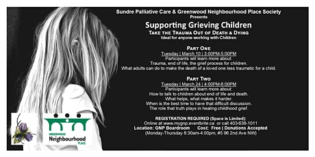 Supporting Grieving Children Take the Trauma out of Death & Dying Part #2 tickets