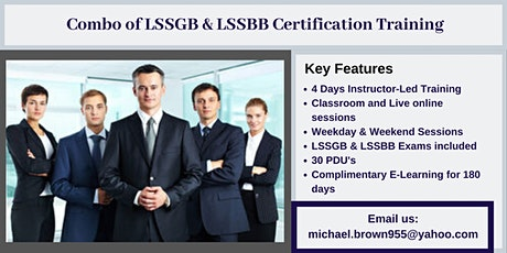 Combo of LSSGB & LSSBB 4 days Certification Training in Crockett, CA tickets