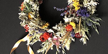 Dried flower wreath making workshop tickets