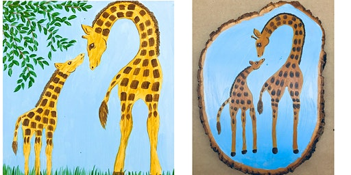 """Adult Open Paint (18yrs+) """"A Kiss for Mom"""" Wood Slice"""