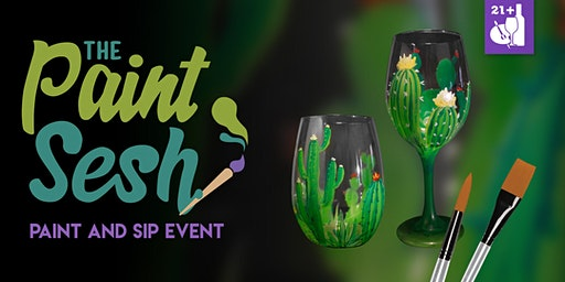 """Paint and Sip in Norco, CA – """"Desert Blooms Wine Glass Set"""""""
