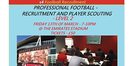 PROFESSIONAL FOOTBALL - PLAYER RECRUITMENT AND SCOUTING WORKSHOP - LEVEL 2 tickets