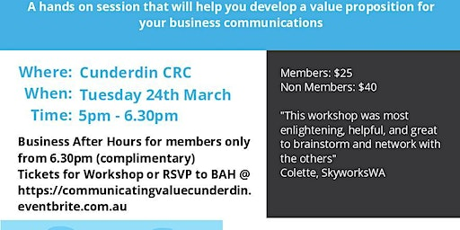 Communicating Your Value and Business After Hours Cunderdin