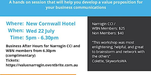 Communicating Your Value and Business After Hours Narrogin