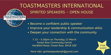 Toastmasters International - Spirited Speakers Open House tickets