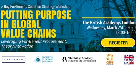 Putting Purpose in Global Value Chains – Leveraging For-Benefit Procurement: Theory into Action tickets