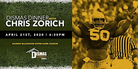 34th Annual Dinner, Speaker Chris Zorich - BEING RESCHEDULED,  TBD tickets