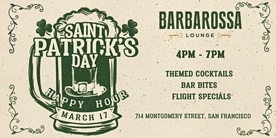 St. Patrick's Day Happy Hour at Barbarossa Lounge