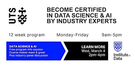UTS 12 Week Data Science & AI Training Program - Free Info Session: 2pm tickets
