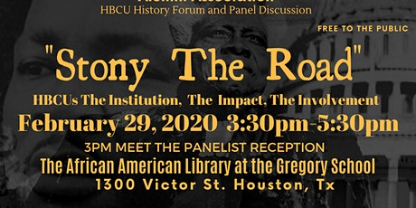"""Stony The Road"" History Forum and Panel Discussion tickets"