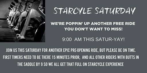 StarCycle Saturday Pop Up Ride!