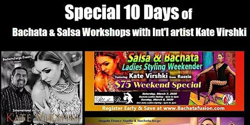 Learn to Dance Sensual Bachata & Salsa with Int'l Arist Kate & BachataJorge