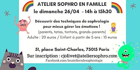 Atelier de sophrologie Parents/enfants PARIS 15 : Stress et émotions billets