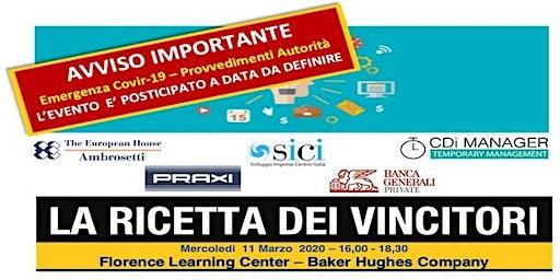 La Ricetta dei Vincitori - Firenze - 11 Marzo 2020