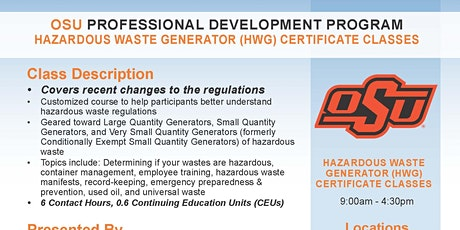 OKC Hazardous Waste Generator (HWG) Certificate Class tickets