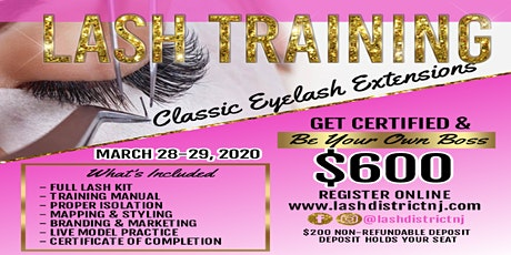 Classic Eyelash Extension Class   2 Day Hands on Training tickets