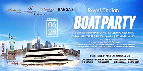 Royal Indian Boat Party 26 July 2020 **Queens NY** tickets