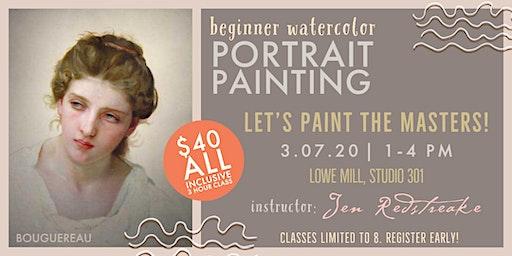 Watercolor on Aquabord with Jen Redstreake:: MASTER PORTRAITS class 1