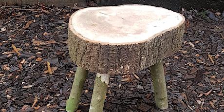 Make a traditional three legged stick stool to take home tickets